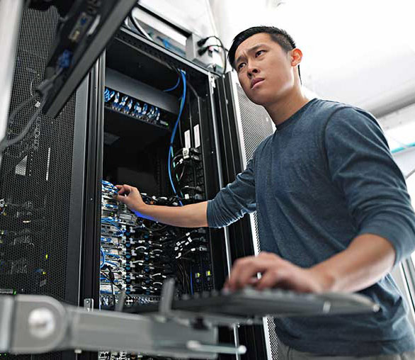 Analyst Working on Cloud Server