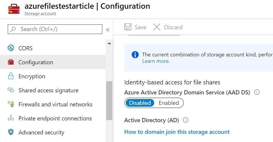 Azure Files Shares configuration
