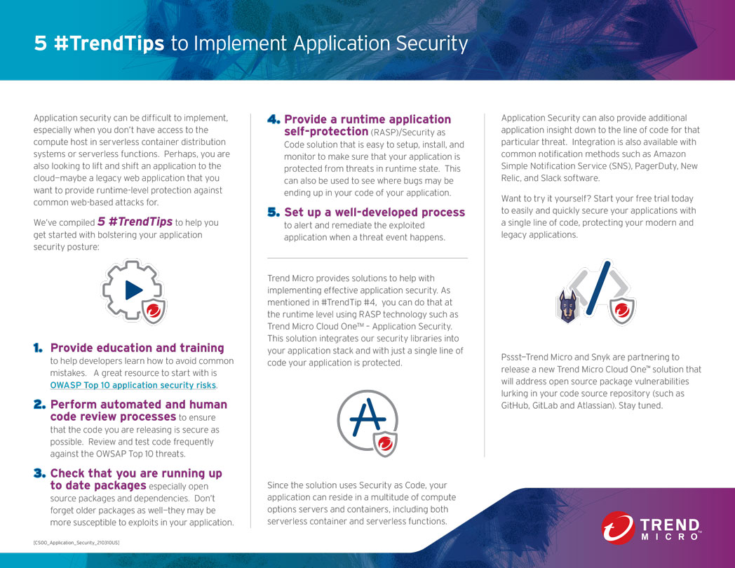 5 #TrendTips to Implement Application Security