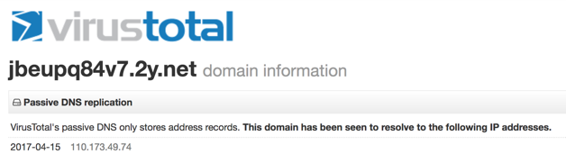Figure 4. VirusTotal showing a passive DNS record for the domain