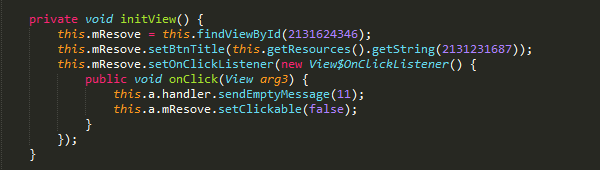 Figure 6. Code snippet for the RESOLVE button