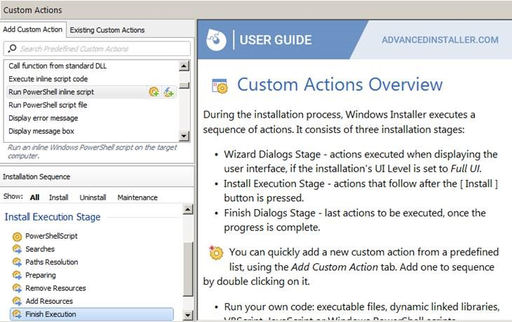 Figure 14. Advanced Installer with other custom actions