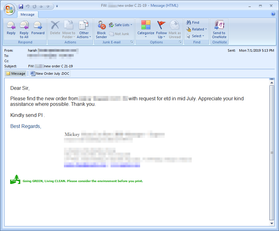 Figure 1. Screenshot of the actual email sample that contained a LokiBot attachment