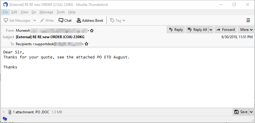 Figure 3. One of the VirusTotal email samples that contains a LokiBot attachment