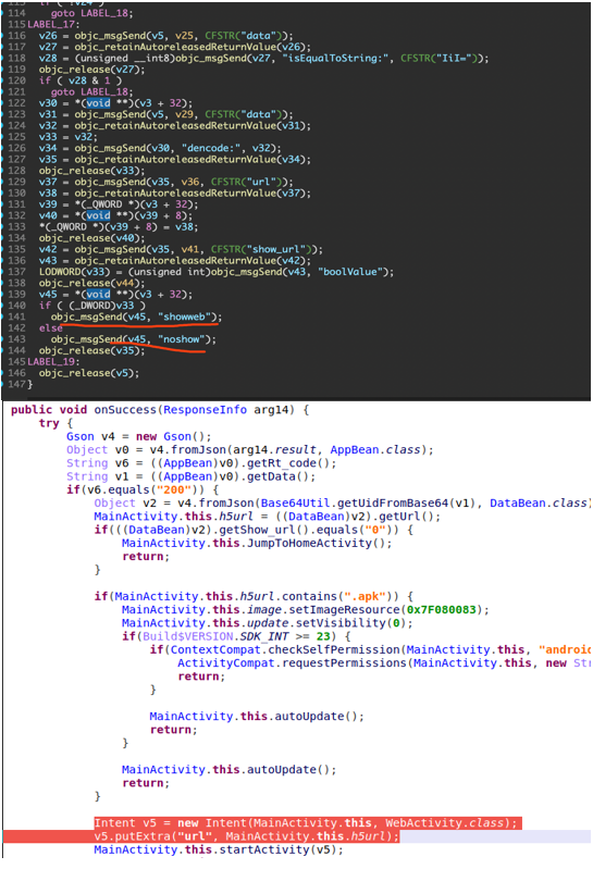 Figure 11. Loaded WebView on iOS (top) and Android (below)
