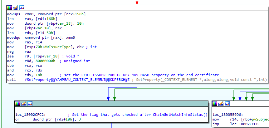 Figure 11. Adding the CERT_ISSUER_PUBLIC_KEY_MD5_HASH property to the end certificate