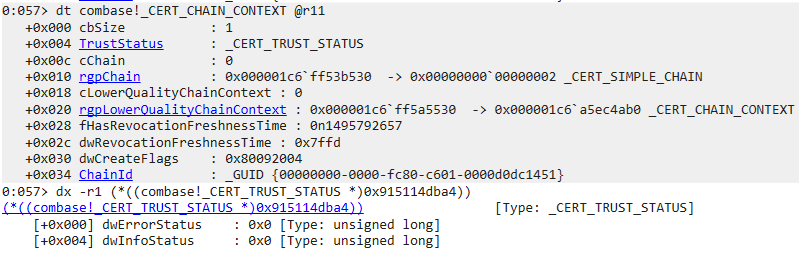 Figure 13. Verifying the status of the certificate chain contained within the CERT_CHAIN_CONTEXT structure