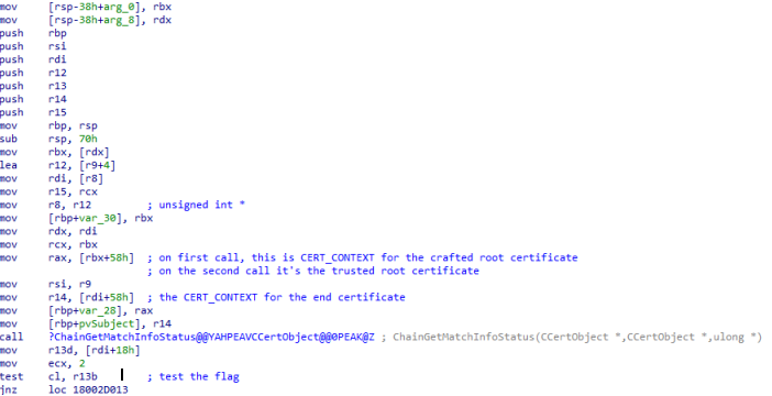 Figure 9. Calling ChainGetMatchInfoStatus() and testing the flag in CCertObjects associated with the end certificate