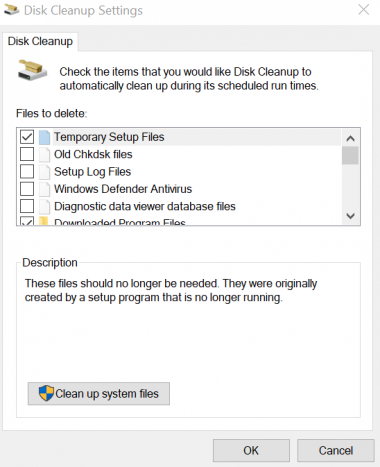 Disk Cleanup settings