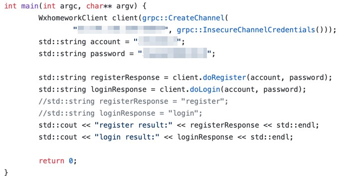 Example of gRPC service credentials found on GitHub