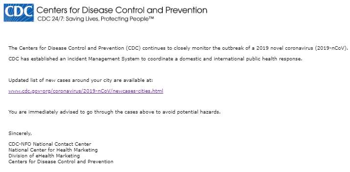 A fake CDC email that uses Covid-19 as bait
