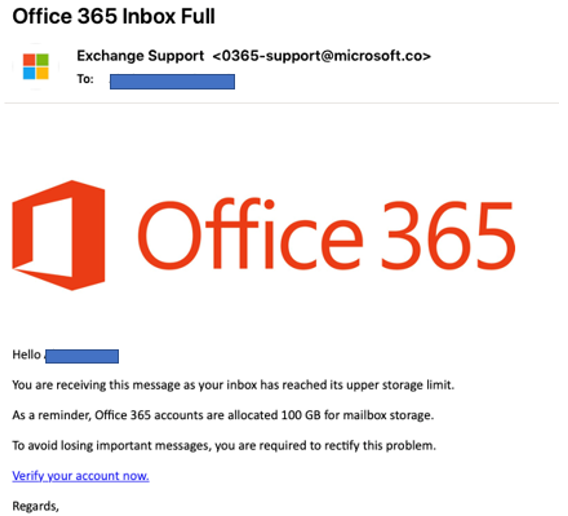 A fake email luring users to click on a link to fix their storage limit
