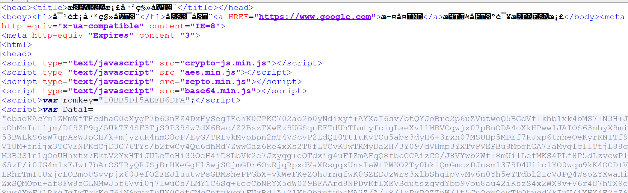 Section of landing page showing encryption and obfuscation