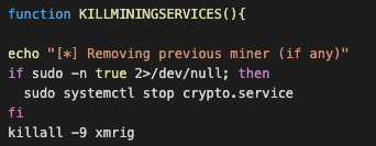 Screenshot 1 of 4 of cryptocurrency-mining malware code that kills off other existing cryptocurrency-mining malware in an infected system or device