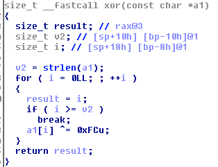 Decryption algorithm used to obtain the names of hidden literals and hooked functions