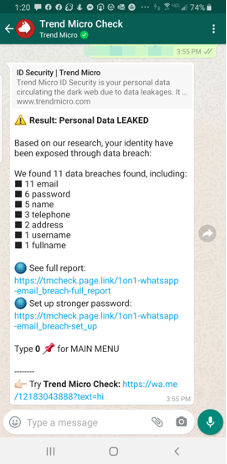 Figure 5. Trend Micro Check in WhatsApp checking if your email address has been leaked