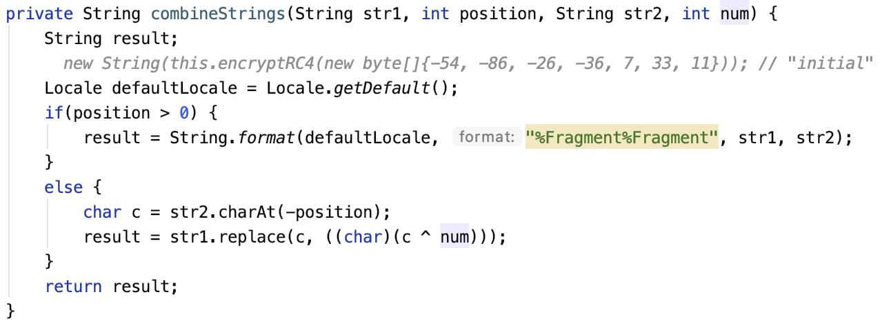 Older version of combineStrings() method