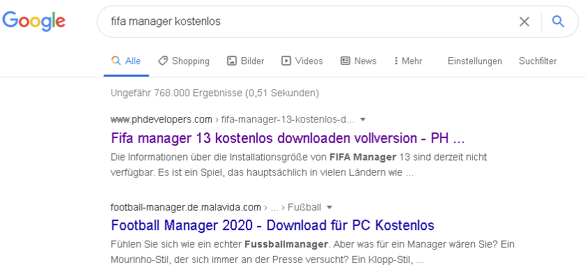 Malicious search engine results