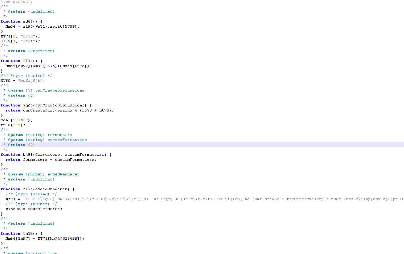 Deobfuscated code