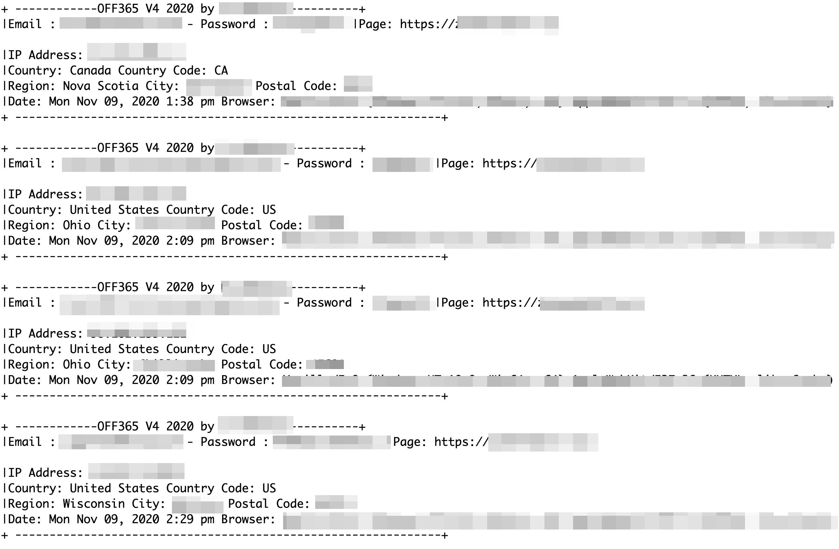 圖4. 設定不當的日誌檔詳細描述了受害者會被導向的釣魚網站及他們的個人身份資訊(郵件地址、密碼、城市和系統資訊)。