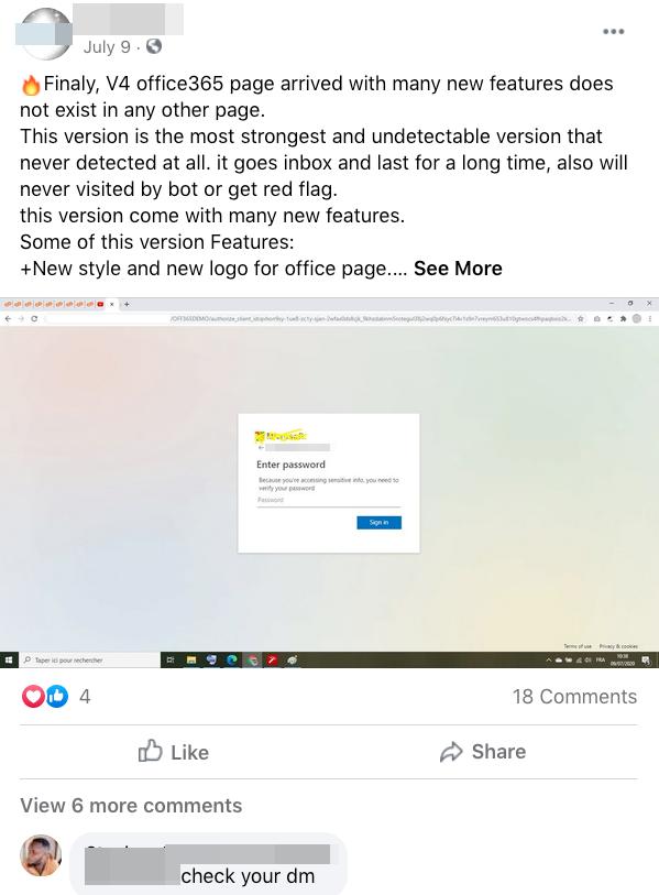圖13. 疑似釣魚套件開發者在其商家臉書網頁宣布推出。