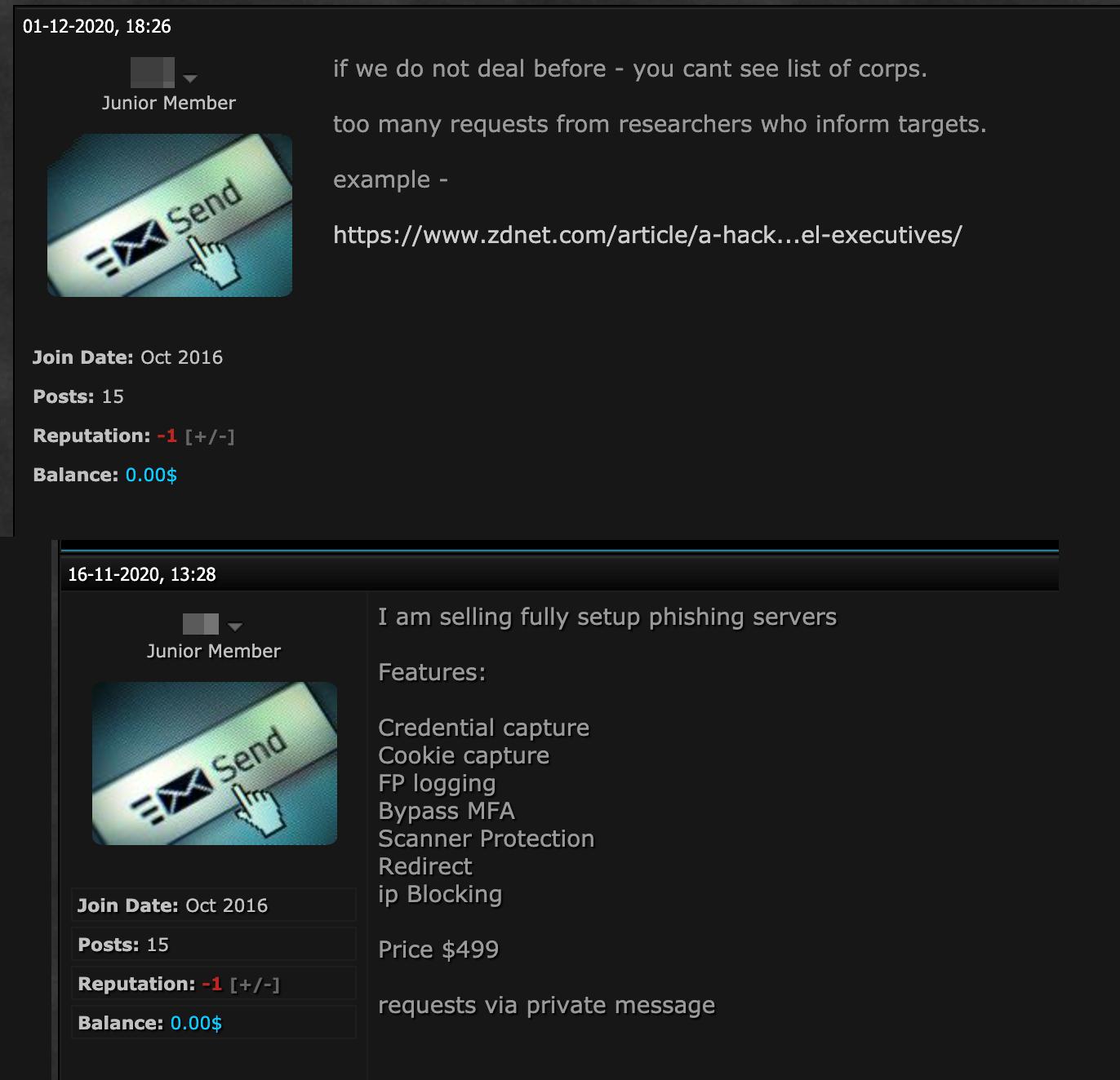 圖17. 地下賣方對與誰交易的聲明(上),另一則出售網路釣魚惡意軟體的貼文(下)。