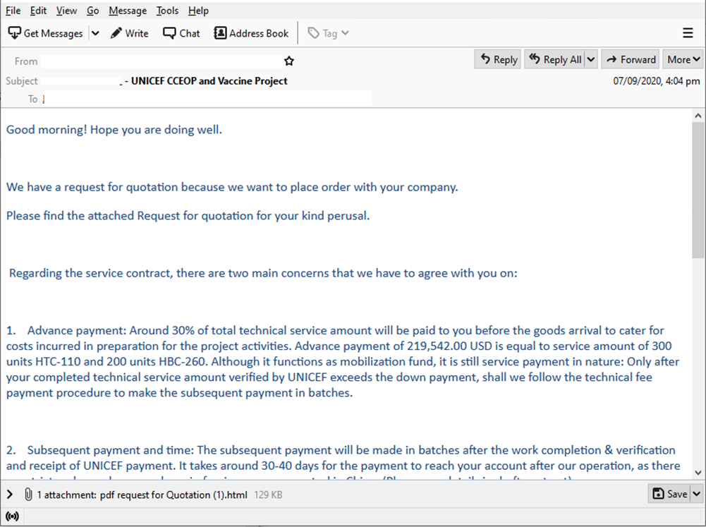 Figure 5. A sample phishing email for a supposed Covid-19 vaccine project
