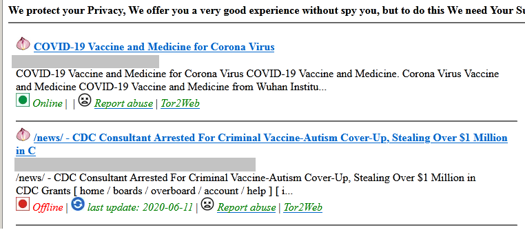 Figure 8. A Covid-19 vaccine scam on a darknet site