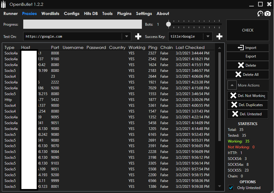 OpenBullet's proxies tab, which features several proxies on different protocols or ports