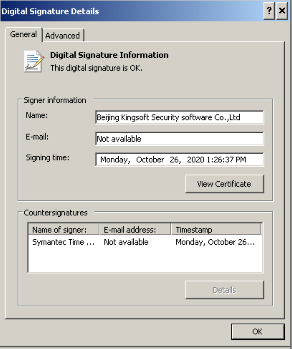 Hidden.sys properties and digital signature details (2 of 2)