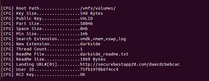 Configuration of the Linux variant