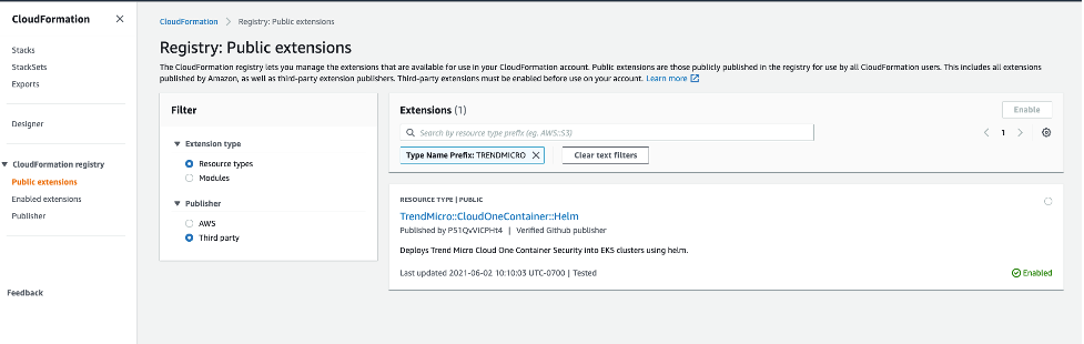 Trend Micro Cloud One – Container Security resource type in AWS Management Console.