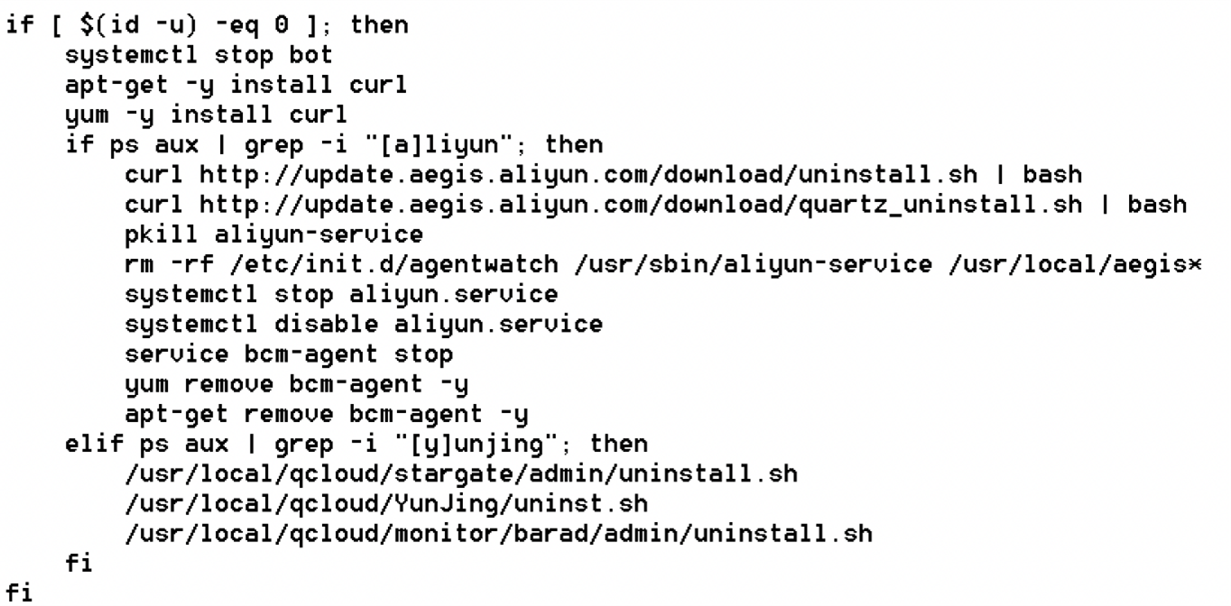 Figure 5. Example of cloud security tools and services removal