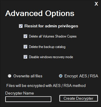 Figure 6. The advanced options for Chaos version 3.0, including the option to encrypt files via the AES/RSA method and the decrypter builder function