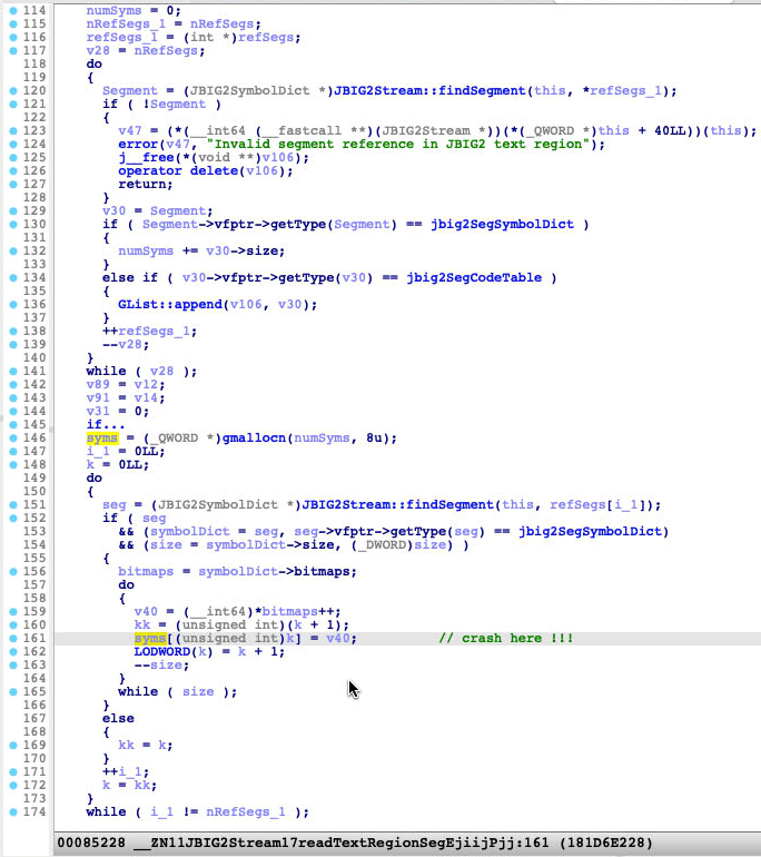 Screenshot of the function JBIG2Stream::readTextRegionSeg showing the crash point
